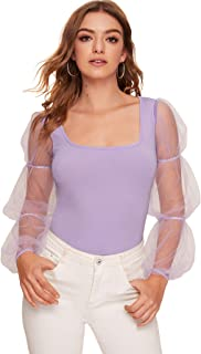 ROMWE Women's Mesh Elasticized Puff Sleeve Form Fitting Party Crop Tops Tee