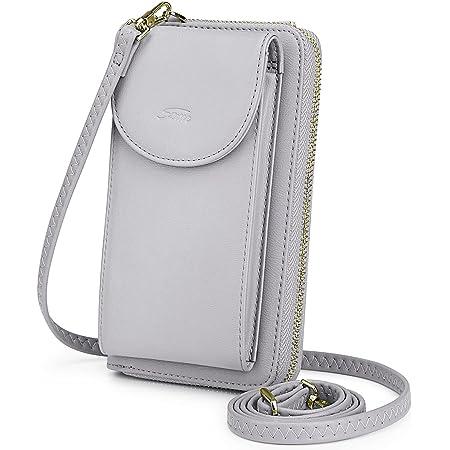 """S-ZONE Damen Handy-Umhängetasche PU Leder RFID Blockierung Handytasche Geldbörse mit Kartenfächer Verstellbar Abnehmbar Schultergurt Passt Handy unter 6,5"""""""