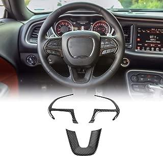JeCar Steering Wheel Cover Interior Decoration Trim Kits for 2015-2019 Dodge Challenger & 2014-2019 Dodge Durango & 2014-2019 Jeep Grand Cherokee SRT8, Carbon Fiber Texture