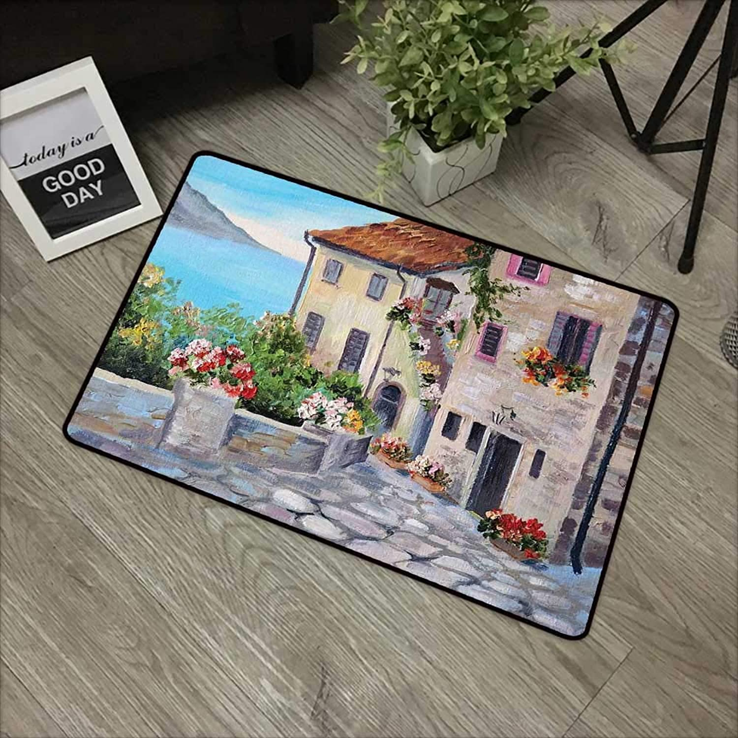 Bathroom Door mat W35 x L59 INCH Rustic,Old Houses in a Small Town Sea and Flower Pots at Windows Oil Painting Style,Beige Pale bluee Non-Slip, with Non-Slip Backing,Non-Slip Door Mat Carpet