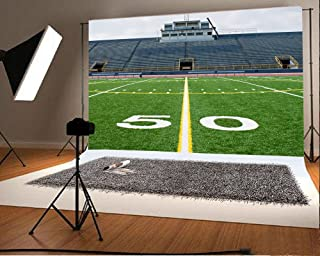 Laeacco 10x6.5 Vinyl Backdrop Fifty Yard Line with Bleachers Photography Background American Football Field with Empty Bleachers Stands Background Yellow and White Line Sportsman Photo Studio Prop