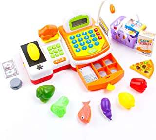 KIDAMI Pretend Play Toy Cash Register Gift for Kids with Realistic Actions (Scanner, Convey Belt, Calculator, Drawer, etc.) & Play Money & Grocery Accessories