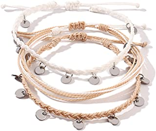 FANCY SHINY String Ankle Bracelets Waterproof Rope Anklets Braided Beach Boho Coin Anklets Cute Friendship Foot Jewelry fo...