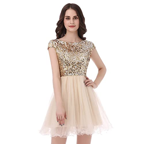 db7f2024c6e2 anmor Women's Short Homecoming Dress Tulle Sequin Prom Party Gowns
