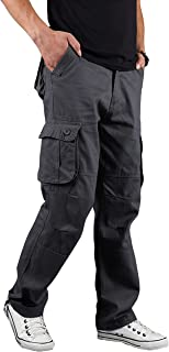 Basic Model Men's Classic Relaxed Fit Straight Leg Sports Casual Multi-Pockets Cargo Pants
