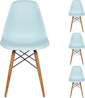 Liani | Mid Century Modern Chair (Blue) - Designer MONOFRAME Modern Dining Chairs Set of 4 for Living Room Accent Chair, Side Chair, Dining Table and Kitchen Chairs - Mid century Modern Furniture