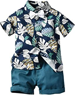 ARTMINE Boy 2-Piece Set, Floral Shirt with Bow Tie and Shorts, 9 Months-5 Years
