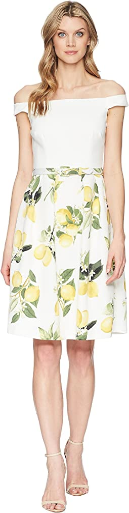Fresh Lemon Off the Shoulder Dress