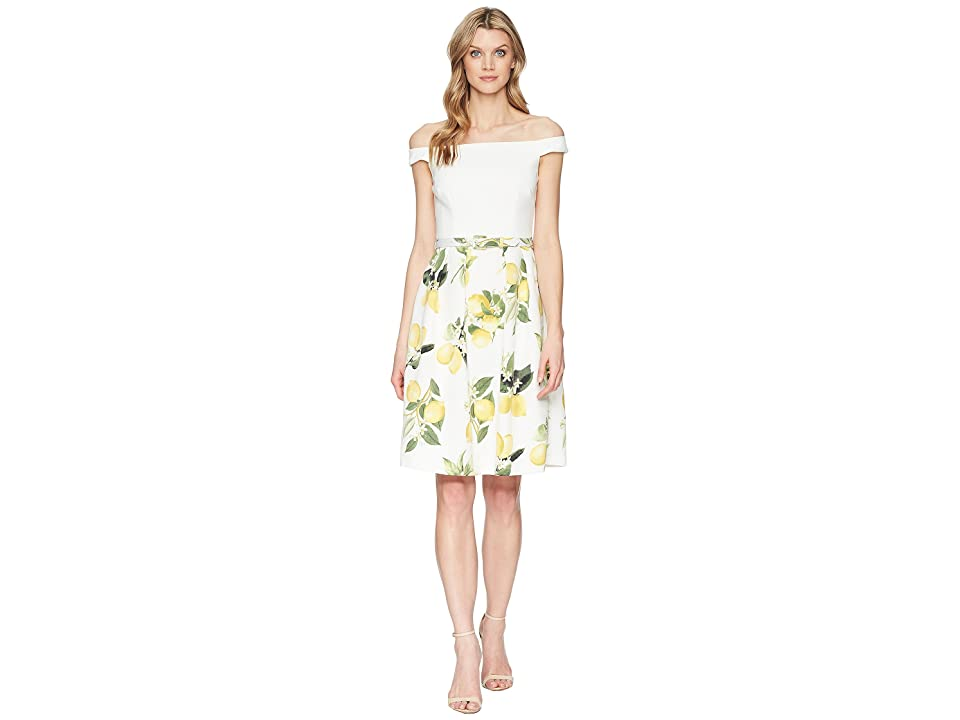 Adrianna Papell Fresh Lemon Off the Shoulder Dress (Yellow Multi) Women