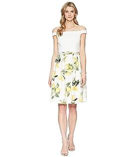 Fresh Lemon Off the Shoulder Dress
