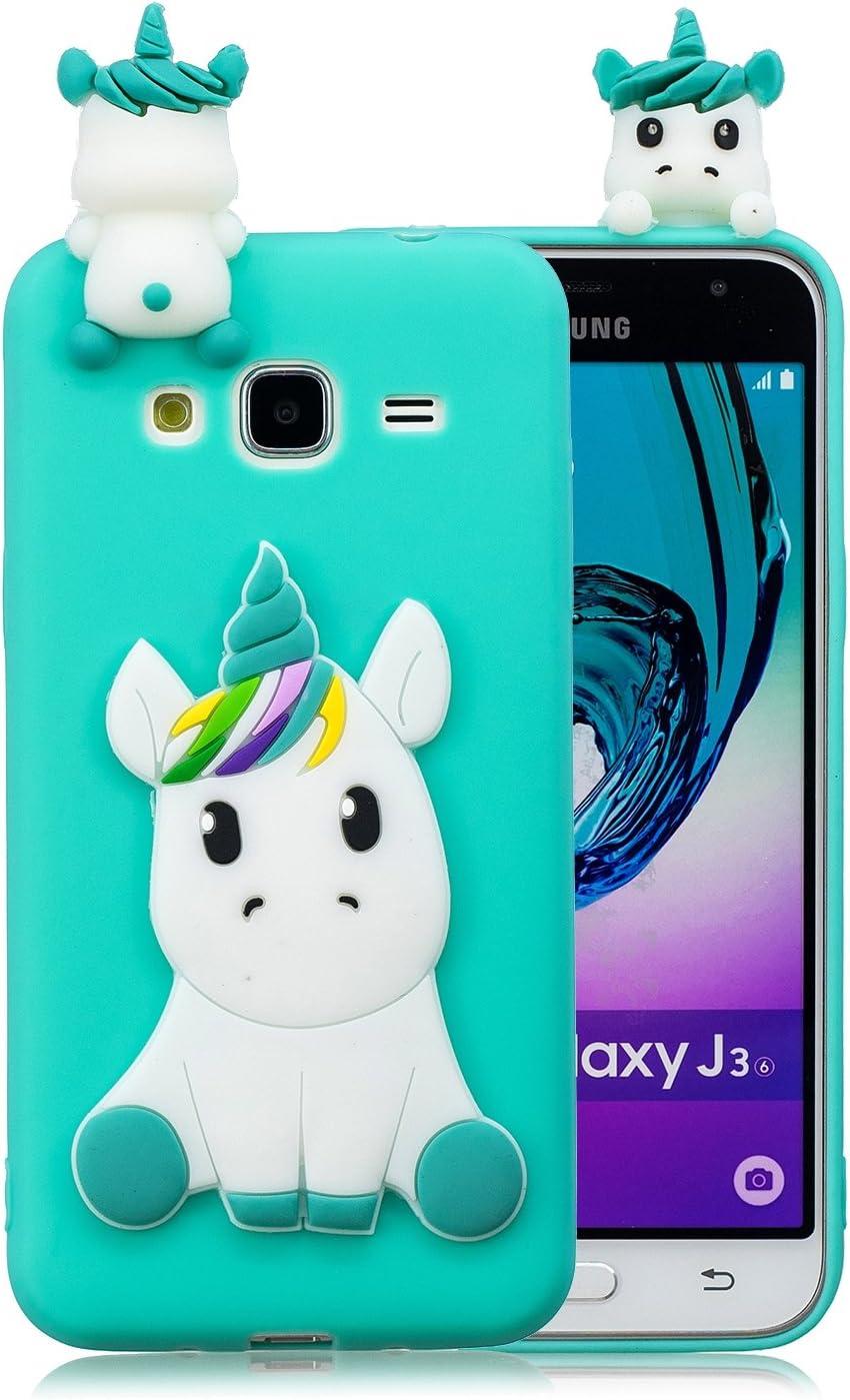 Coque Samsung Galaxy Grand Prime G530 Silicone avec Motif 3D Licorne Vert Housse Galaxy Grand Prime G530 Ultra Fine TPU Souple Étui Mignon Slim ...