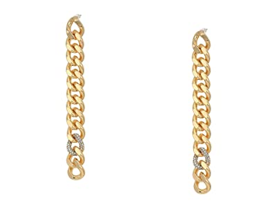 Rebecca Minkoff Pave Links Linear Earrings (Gold) Earring