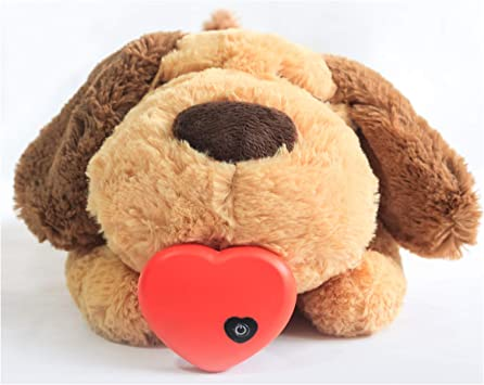 Allnice Puppy Toy with Heartbeat Puppies Separation Anxiety Dog Toy Soft Plush Sleeping Buddy Pet Behavioral Aid Toy with Heartbeat for Puppies Dog Pet (Puppy)