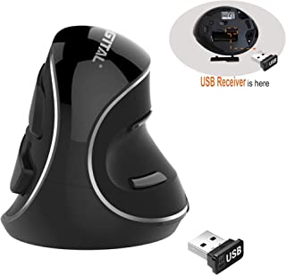 J-Tech Digital [V628P] Wireless Ergonomic Vertical USB Mouse with Adjustable Sensitivity (600/1000/1600 DPI), Scroll Endur...
