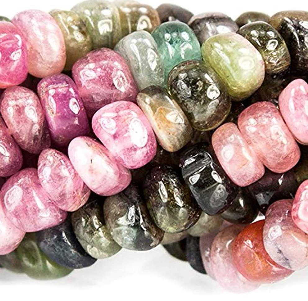 Top Quality Natural Watermelon Tourmaline Gemstone 5mm Rondelle Loose Stone Beads 15.5