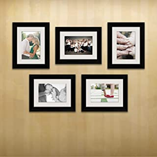 ArtzFolio Wall Photo Frame D512 Black 6x8inch;Set of 5 PCS with Mount
