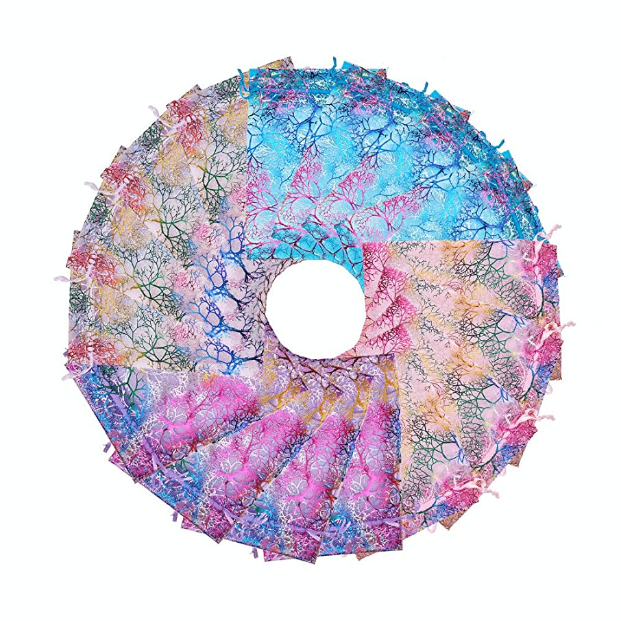 """PH PandaHall 100pcs 4 Color Coralline Pattern Organza Drawstring Bags Wedding Favor Party Candy Chocolate Party Jewelry Bags, 4.7"""" x 7"""""""