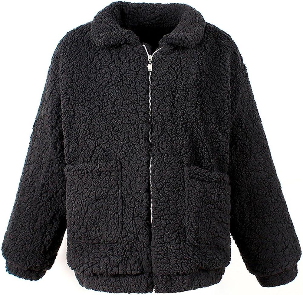 LAEMILIA Damen Mantel Jacke Plüsch Winter Stepp Warmen Oversize Boyfriend Outwear Cardigan Lange Ärmel Einfarbig Parka Schwarz