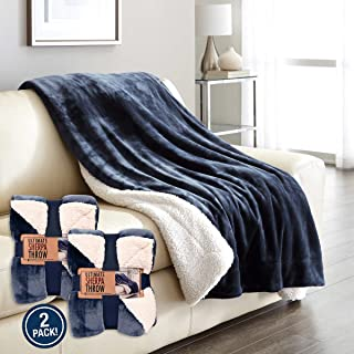 Life Comfort Ultimate Sherpa Throw 2-pack, Blue