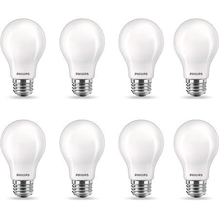 Philips LED Flicker-Free A19 Light Bulb, Dimmable Warm Glow Effect, EyeComfort Technology, 800 Lumen, 2700-2200K, 8.5W=60W, E26 Base, Title 20 Certified, 8-Pack