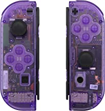 eXtremeRate Transparent Clear Purple Joycon Handheld Controller Housing with Full Set Buttons, DIY Replacement Shell Case ...