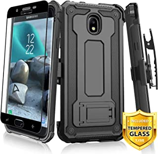 TJS Case for Samsung Galaxy J7 2018/J7 Refine/J7 Star/J7 Eon/J7 TOP/J7 Aero/J7 Crown/J7 Aura/J7 V 2nd Gen Case, [Full Coverage Tempered Glass Screen Protector] 360° Belt Clip Holster Kickstand (Black)