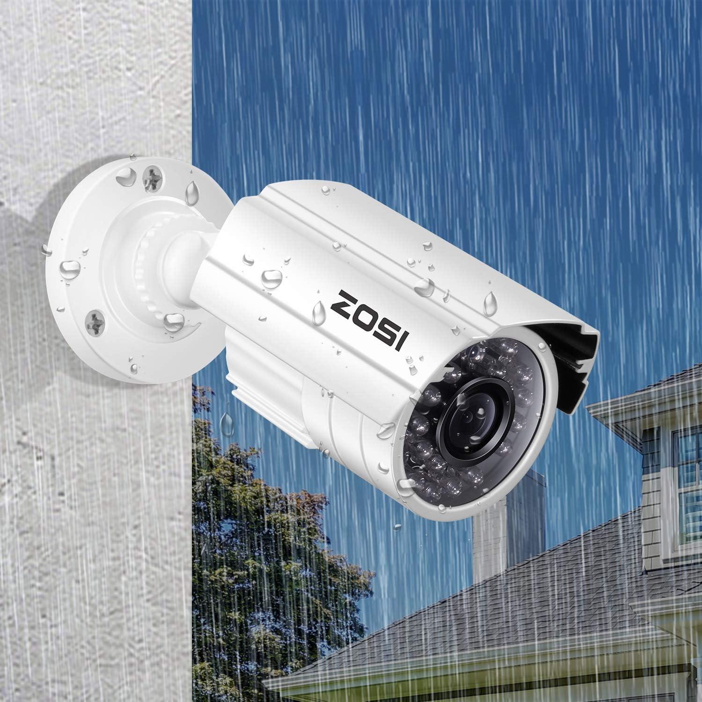 ZOSI 4 Pack 1080P 1920TVL 2.0 Megapixel HD 4 in 1 TVI CVI AHD CVBS CCTV Cameras Kits 65ft IR Distance Aluminum Metal Housing Waterproof Indoor Outdoor Cameras for 1080P Analog DVR System White