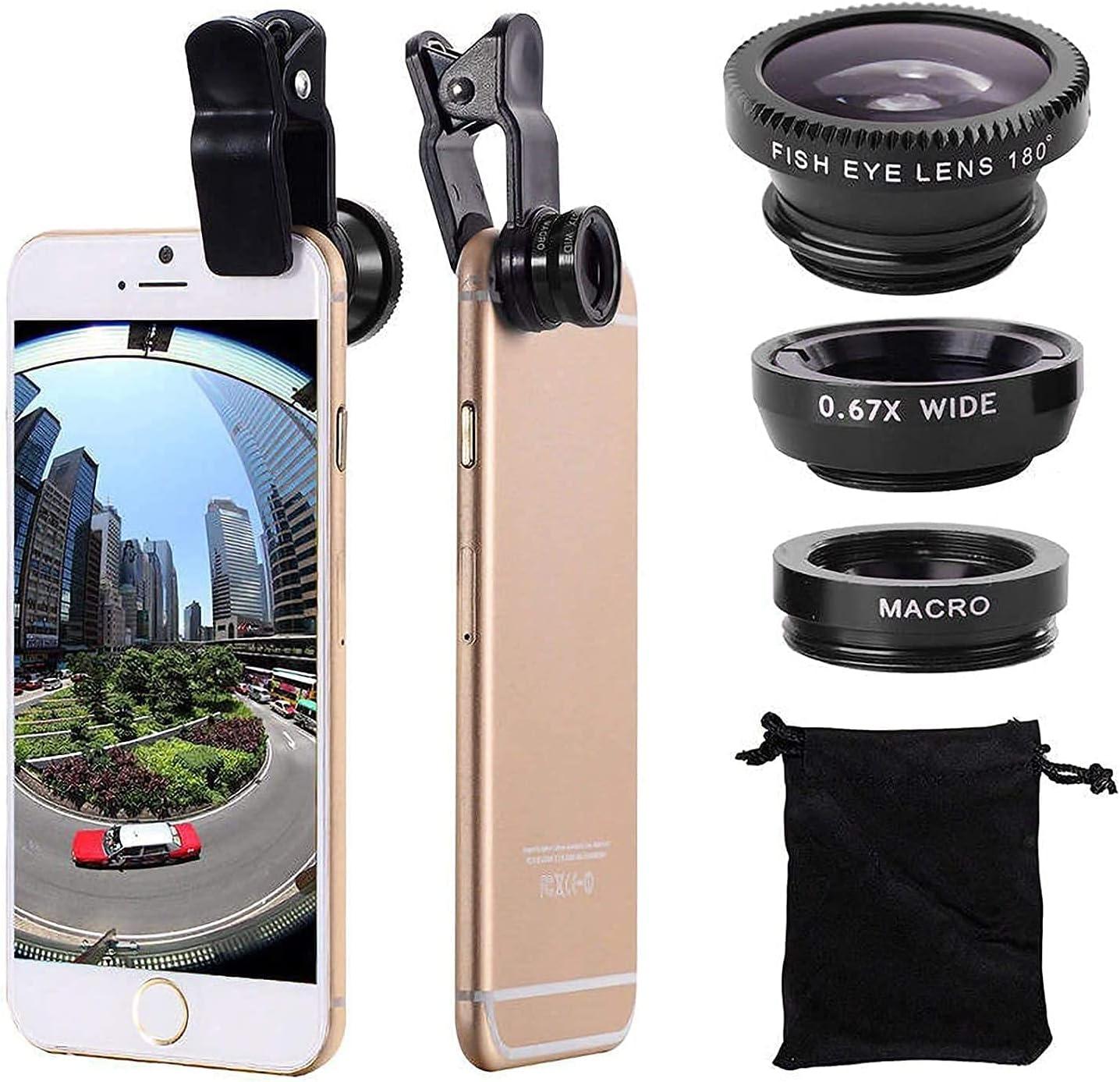 3 en 1 lente de ojo de pez macro gran angular del kit de la lente de la cámara del teléfono celular