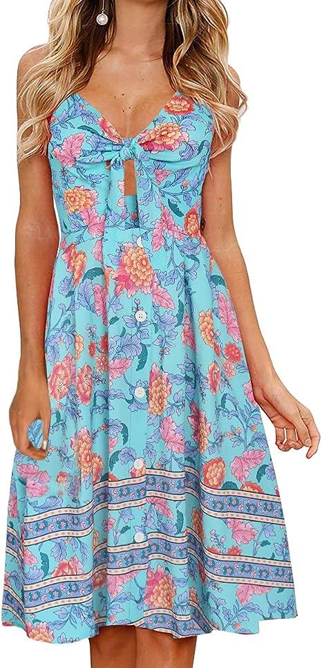 Fancyinn Sommerkleid Damen Knielang Dekoltee V Ausschnitt Boho Ruckenfreies A Linien Kleid Midikleid Amazon De Bekleidung