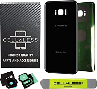 CELL4LESS Replacement Back Glass Cover Back Battery Door w/Custom Removal Tool & Pre-Installed Adhesive for Samsung Galaxy...