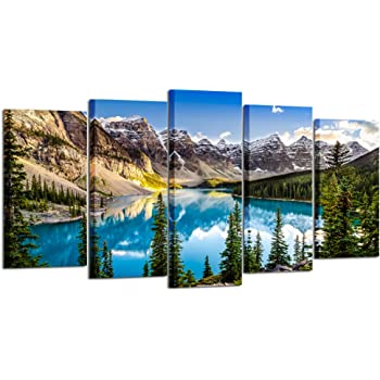 Canadian Rockies Landscape Picture SINGLE CANVAS WALL ART Print