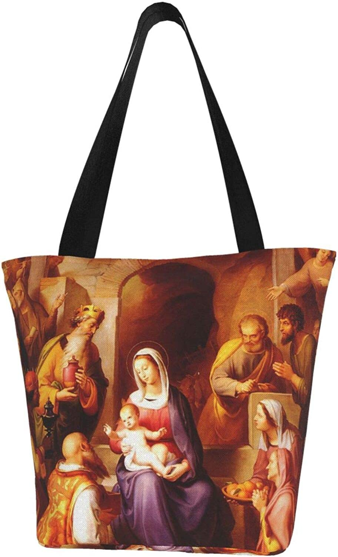 Holy Birth Jesus Christian Faith Themed Printed Women Canvas Handbag Zipper Shoulder Bag Work Booksbag Tote Purse Leisure Hobo Bag For Shopping