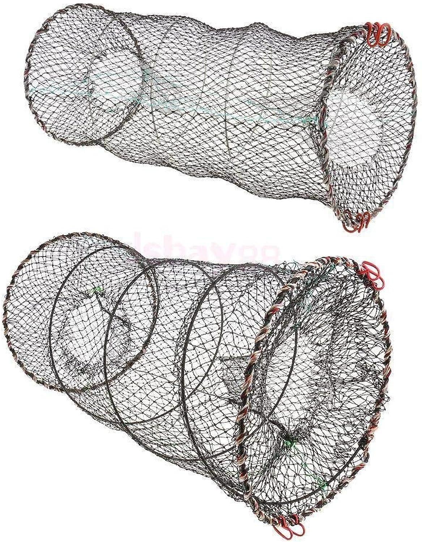 Foldable Crab Fish Crawdad Shrimp Pot Fishing Bait Trap Dip Net Cage 30x60cm