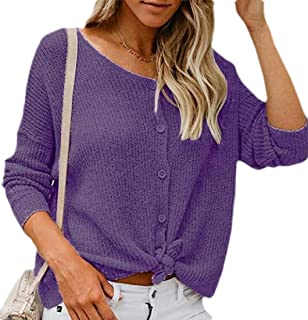 Women's Button Down Long Sleeve Crew Neck Knit Front Tie Cardigan Sweater