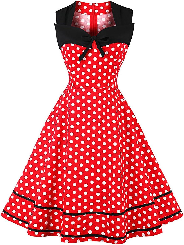 CL Women Vintage 50s Polka Dot Bowknot Party Midi Swing Dress