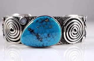 Alex Sanchez Silver Silver Kingman Turquoise Navajo Petroglyph Design Cuff Bracelet