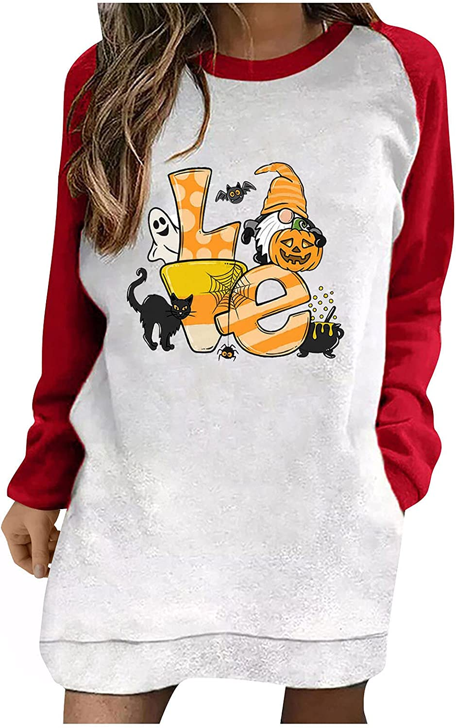 Women Halloween Long Sleeve Tunic Pumpkin Graphic Spring new work one after New Orleans Mall another Crewneck Tops