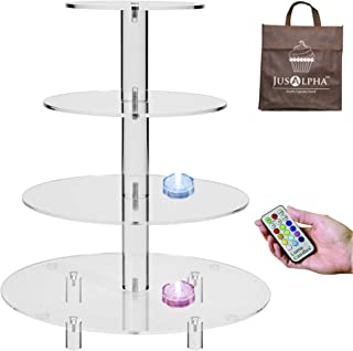 Jusalpha 4 Tier Acrylic Glass Round Cake Stand-Cupcake Stand- Dessert Stand-Tea Party Serving Platter for Wedding Party with Rod Feet 4RF(With LED Light)