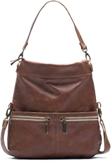 product image for Vintage Brown Leather Medium Convertible Foldover Crossbody