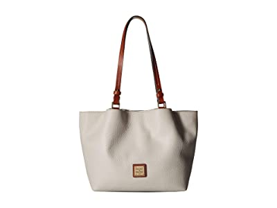 Dooney & Bourke Pebble Small Flynn (Ecru/Tan Trim) Handbags