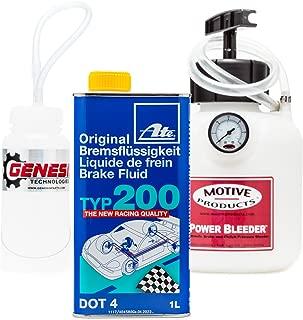 Genesis Technologies Brake Bleeding Kit with ATE Type 200 Brake Fluid, Bleeder Bottle, and Motive Power Bleeder 0100