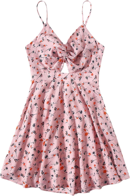 Floerns Women's Plus Size Floral Print Twist Front Tie Back Mini Cami Dress