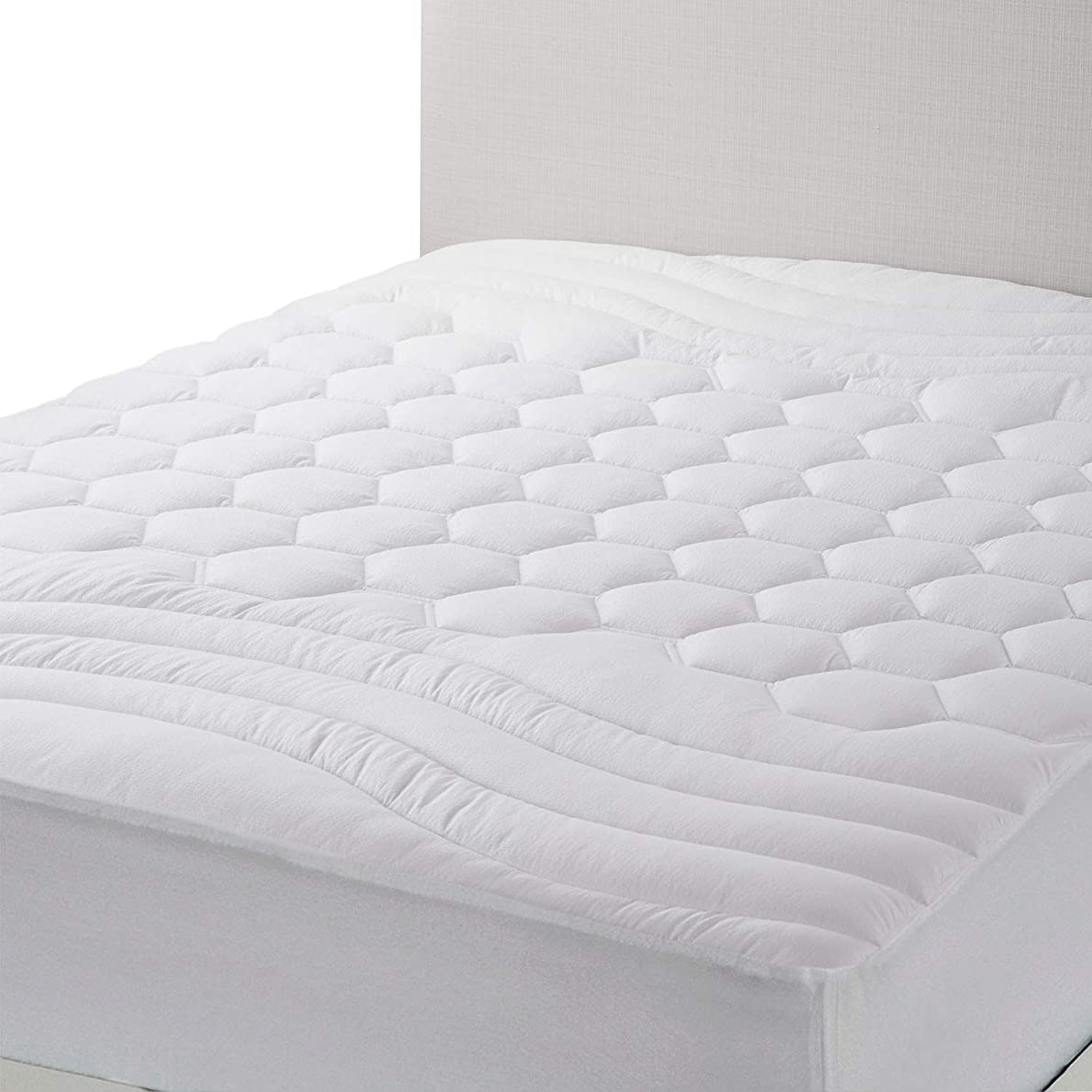 Bedsure Mattress Pad Twin XL/Twin Extra Long Size Hypoallergenic - Breathable - Ultra Soft Quilted Mattress Protector, Fitted Sheet Mattress Cover White