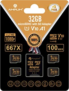 Amplim 4 Pack 32GB Micro SD SDHC Memory Card Plus Adapter (Class 10 U1 UHS-I V10 A1 MicroSDHC Pro) 4X 32 GB Ultra High Spe...