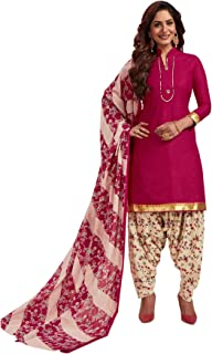 S Salwar Studio Women's Pink & Beige Cotton Printed Readymade Patiyala Suit Set-SSCELEBRATION-1023