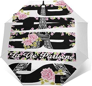 Paraguas Plegable Automático Impermeable Lema Francés Flor Floral, Paraguas De Viaje Compacto a Prueba De Viento, Folding ...