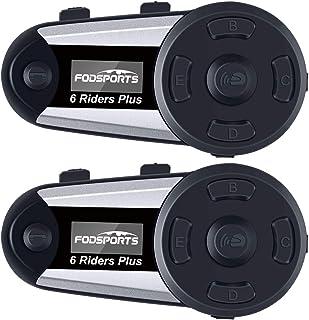 FODSPORTS バイク インカム 6riders 2人同時通信 OLEDスクリーン付 FMラジオ いんかむ 長時間連続使用 日本語音声案内 インターコム 防水 最大通話距離1200m HI-FI音質 Siri/S-voice GPS ワイヤ...
