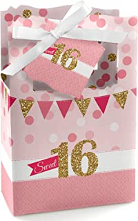 Big Dot of Happiness Sweet 16 - Birthday Party Favor Boxes - Set of 12