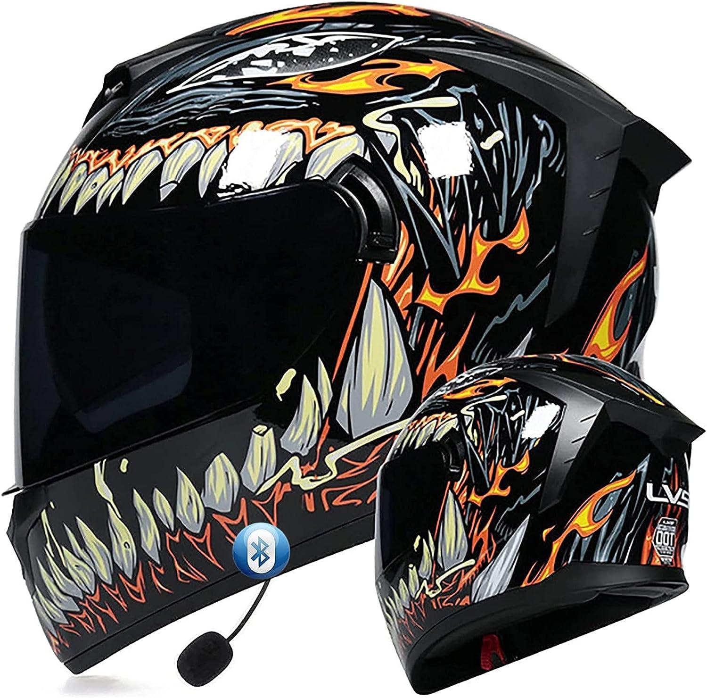 Casco de Moto Modular Bluetooth Integrado Cascos de Motocicleta con Doble Visera ECE Homologado Casco de Moto de Carreras Moto Abatible Ligero Casco Integral para Mujer Hombre K,S=55~56CM