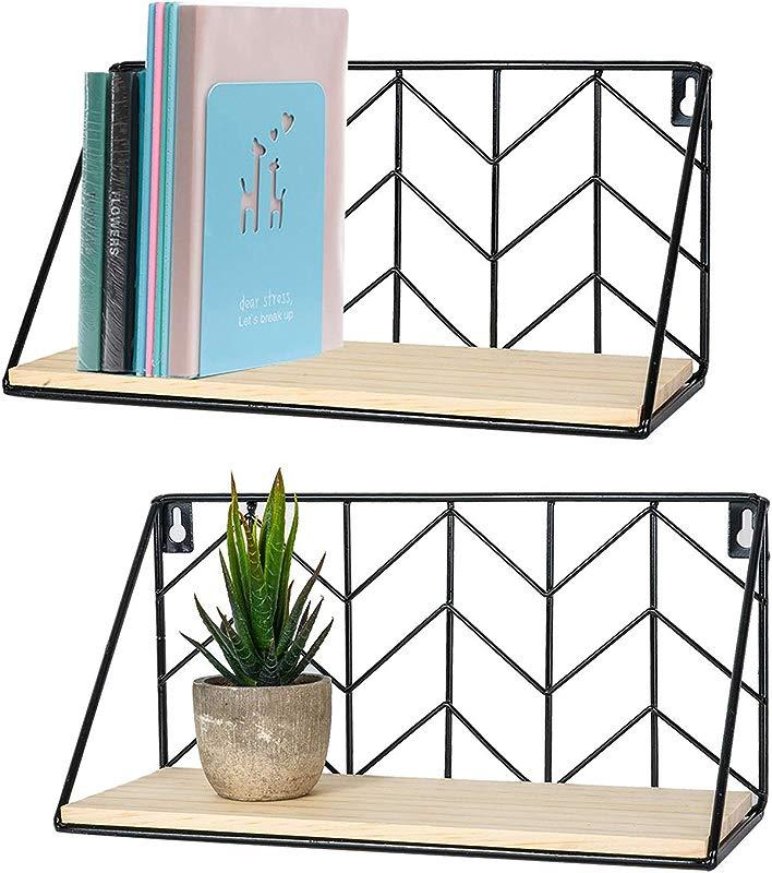 TIMEYARD Floating Shelves Wall Mounted Set Of 2 Rustic Arrow Design Wood Storage For Bedroom Living Room Bathroom Kitchen Office Etc